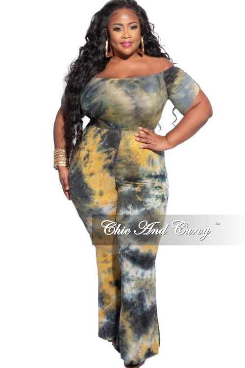 Final Sale Plus Size 2-Piece Off the Shoulder Bodysuit & Pants Set in Navy & Mustard Tie Dye
