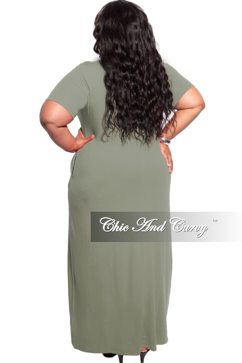 New Plus Size Short Sleeve Maxi Pocket Dress in Light Olive