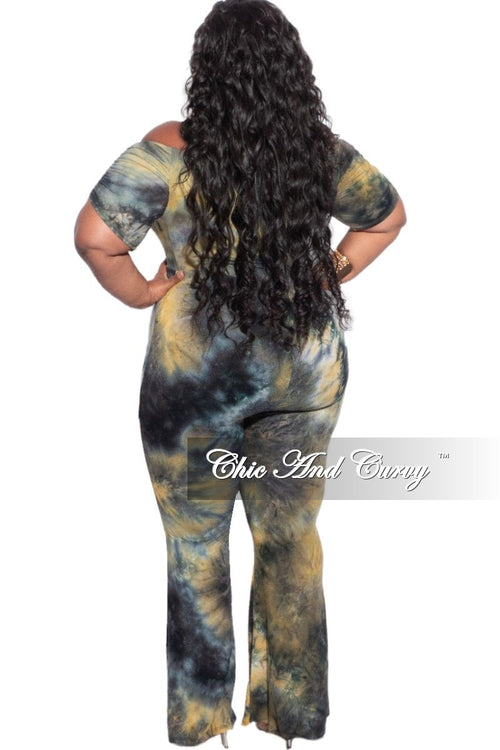 Final Sale Plus Size 2-Piece Set Off the Shoulder Bodysuit & Pants in Navy & Mustard Tie Dye