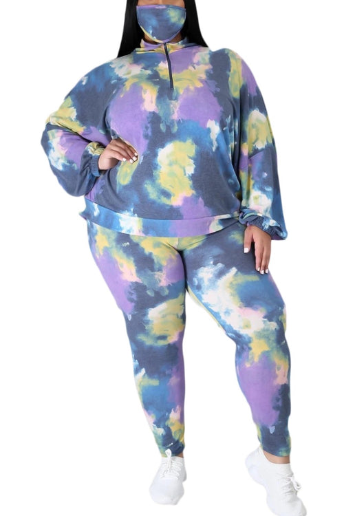 New Plus Size 2-Piece Set Long Sleeve Top & Pants in Purple & Yellow Tie Dye