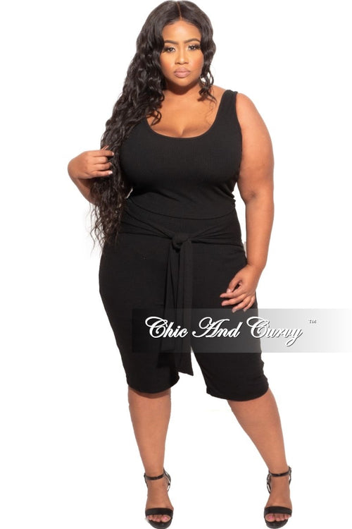 New Plus Size 2-Piece (Tank Top & Tie Waist Biker Shorts) in Black