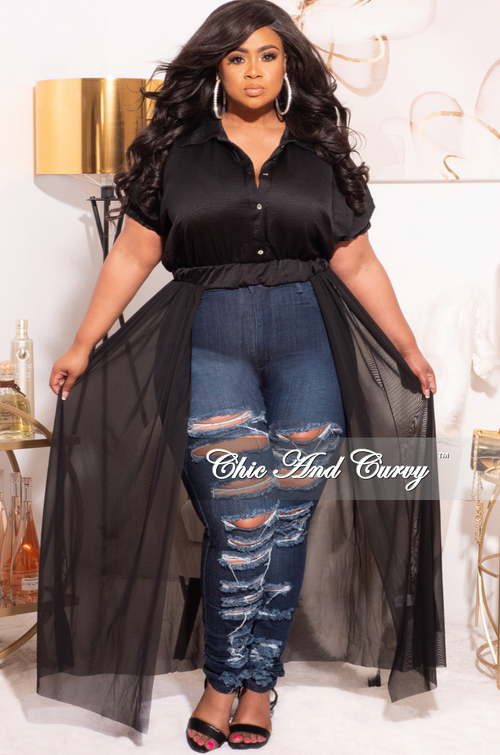 Final Sale Plus Size Top with Mesh Train in Black Love