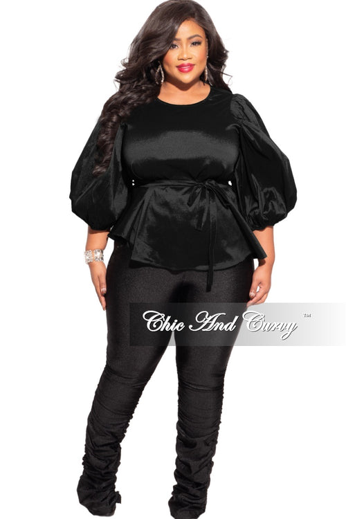 Final Sale Plus Size Balloon Sleeve Shimmer Top with Tie in Black