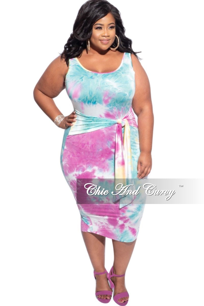 Final Sale Plus Size Tie Bodycon Dress in Pastel Tie Dye
