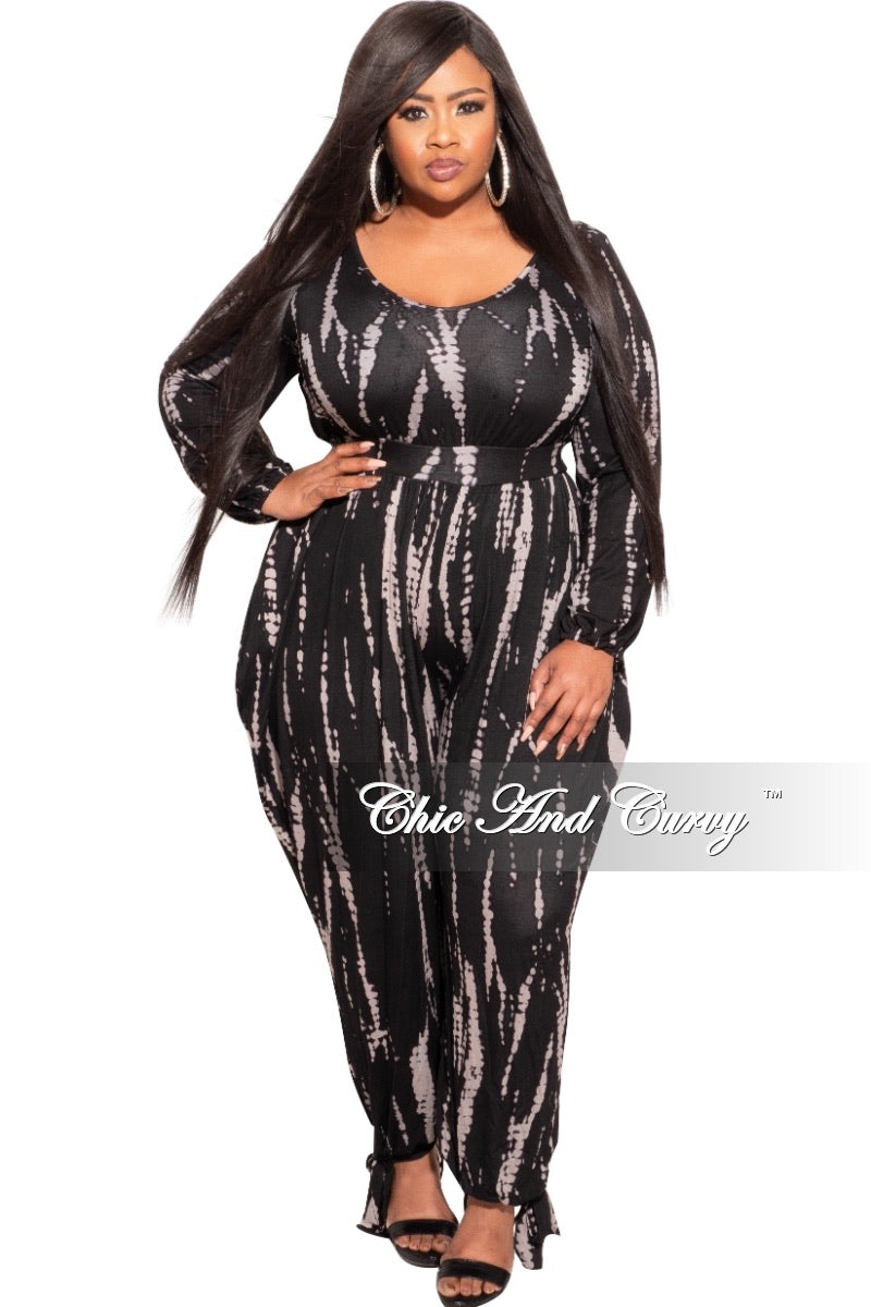 Final Sale Plus Size Harem Jumpsuit with Ankle Ties in Black & Grey Tie Dye