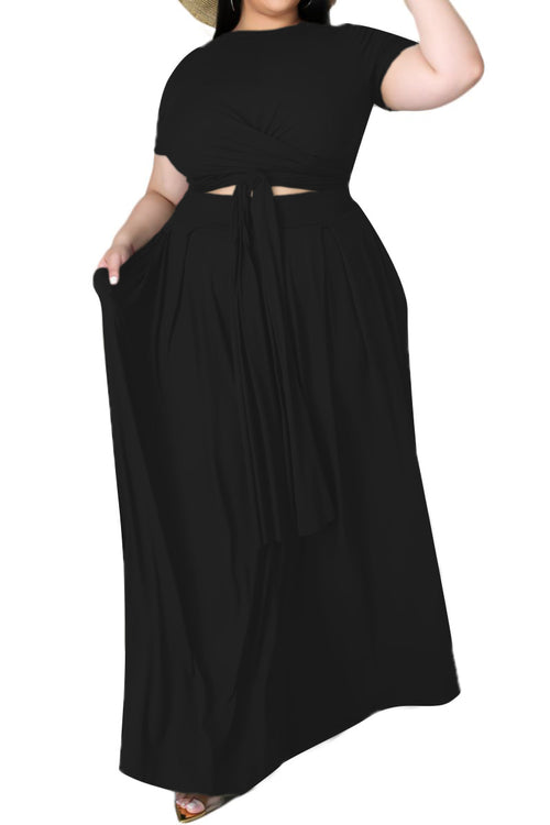 Final Sale Size 2pc Tie Top Maxi Skirt Set in Black