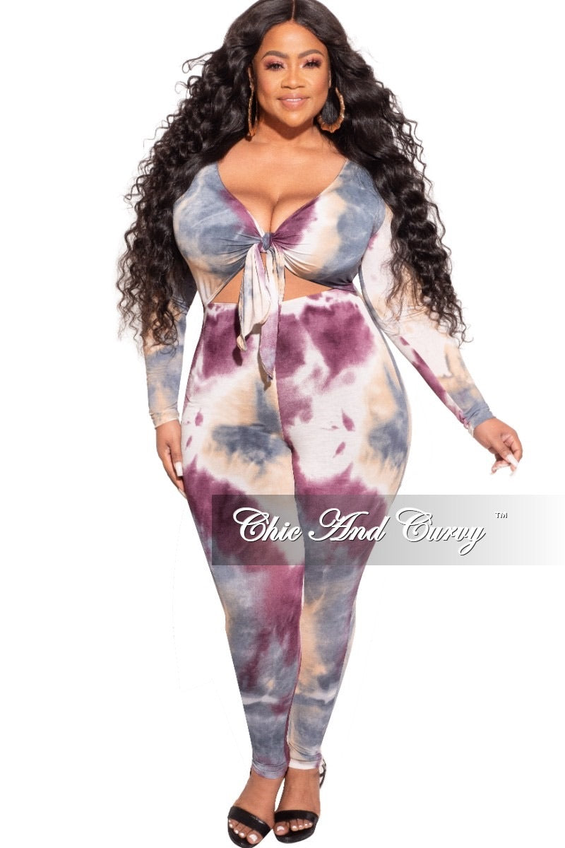 *Final Sale Plus Size Jumpsuit with Long Sleeves and Front Tie in Tan Purple and Navy