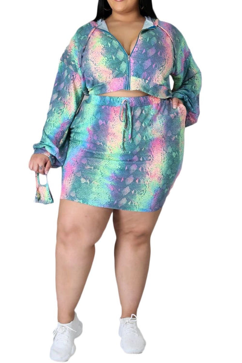 Final Sale Plus Size 2-Piece Skirt Set in Neon Pastel Print