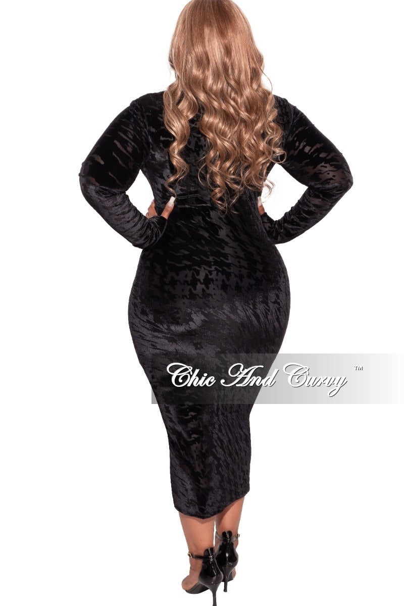 Final Sale Plus Size Mesh and Velour Bodycon Dress in Black