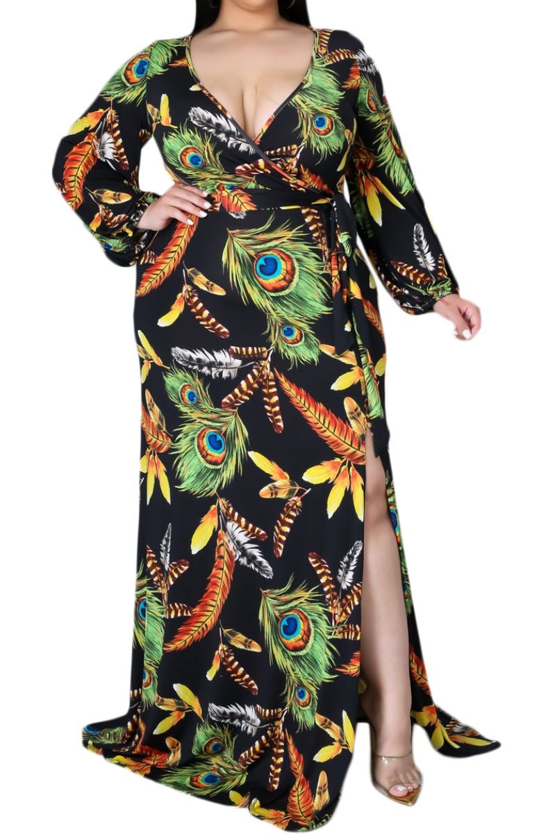 Final Sale Plus Size Faux Wrap Dress With Tie and Side Slit in Black Tropical Print