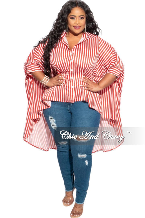 Final Sale Plus Size Oversized Hi-Low Top in Red and White Stripes