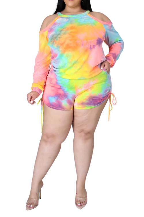 Final Sale Plus Size 2pc Set in Rainbow Sherbet Tie Dye Print
