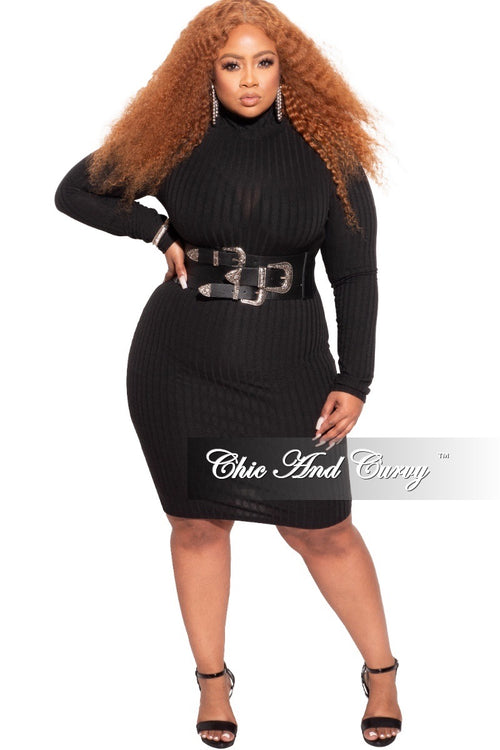 *Final Sale Plus Size Ribbed Bodycon Dress in Black