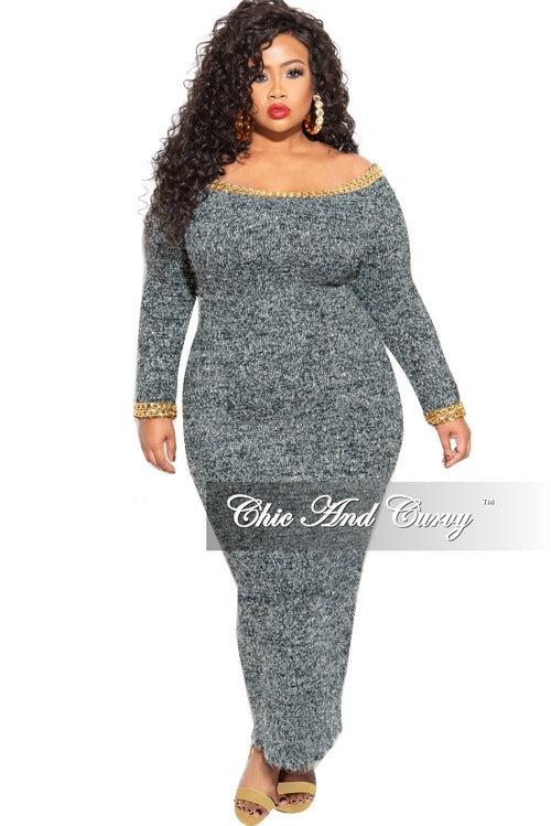 Final Sale Plus Size Off the Shoulder Sweater Dress with Chain Details