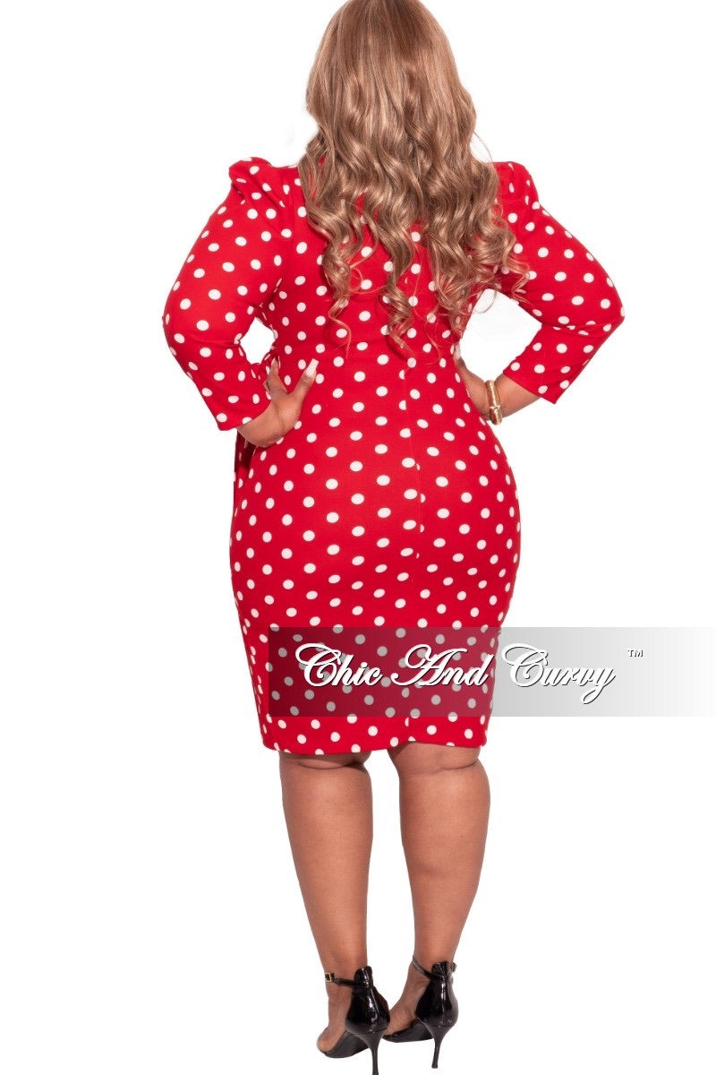 Final Sale Plus Size Faux Wrap Dress in Red and White Polka Dots