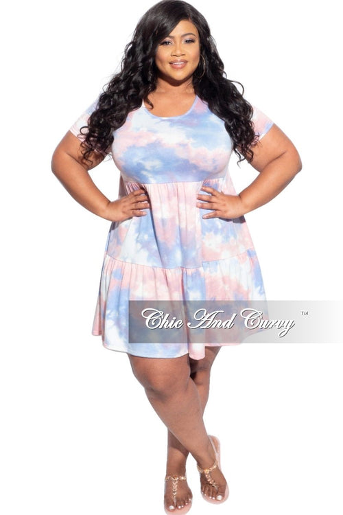 New Plus Size Baby Doll French Terry Dress in Cotton Candy Print