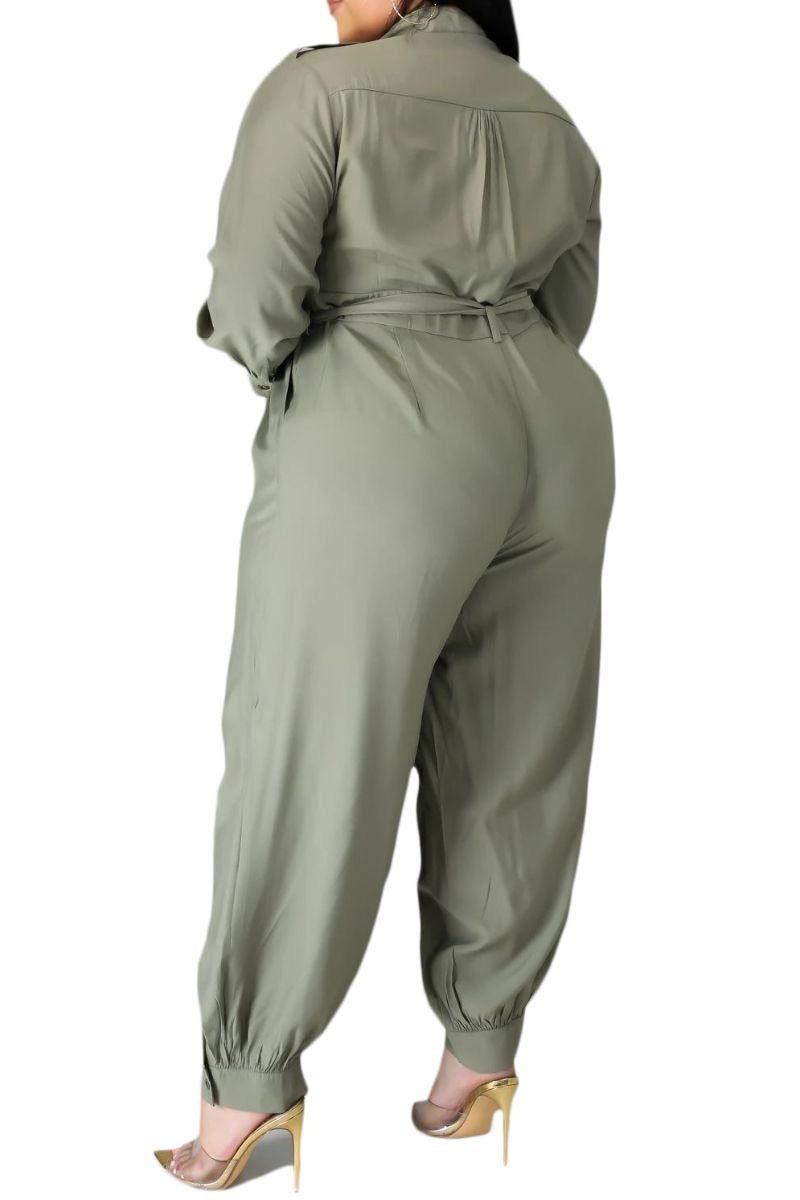 New Plus Size Jumpsuit in Cargo Jumpsuit in Olive