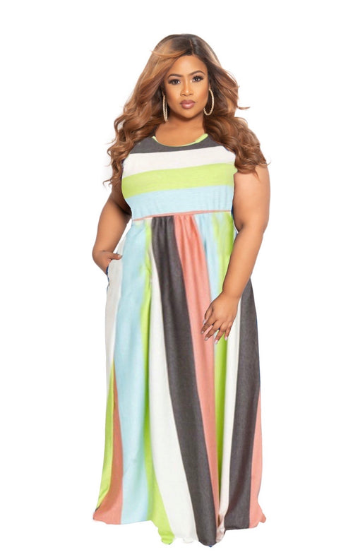New Plus Size Tank Pocket Maxi Dress in Neon Lime & Multicolor Stripe