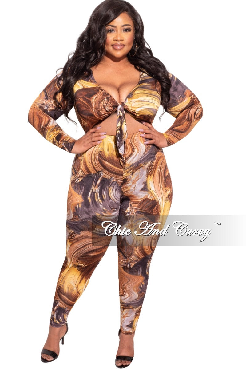 *Final Sale Plus Size Jumpsuit with Long Sleeves and Front Tie in Brown Purple and Gold