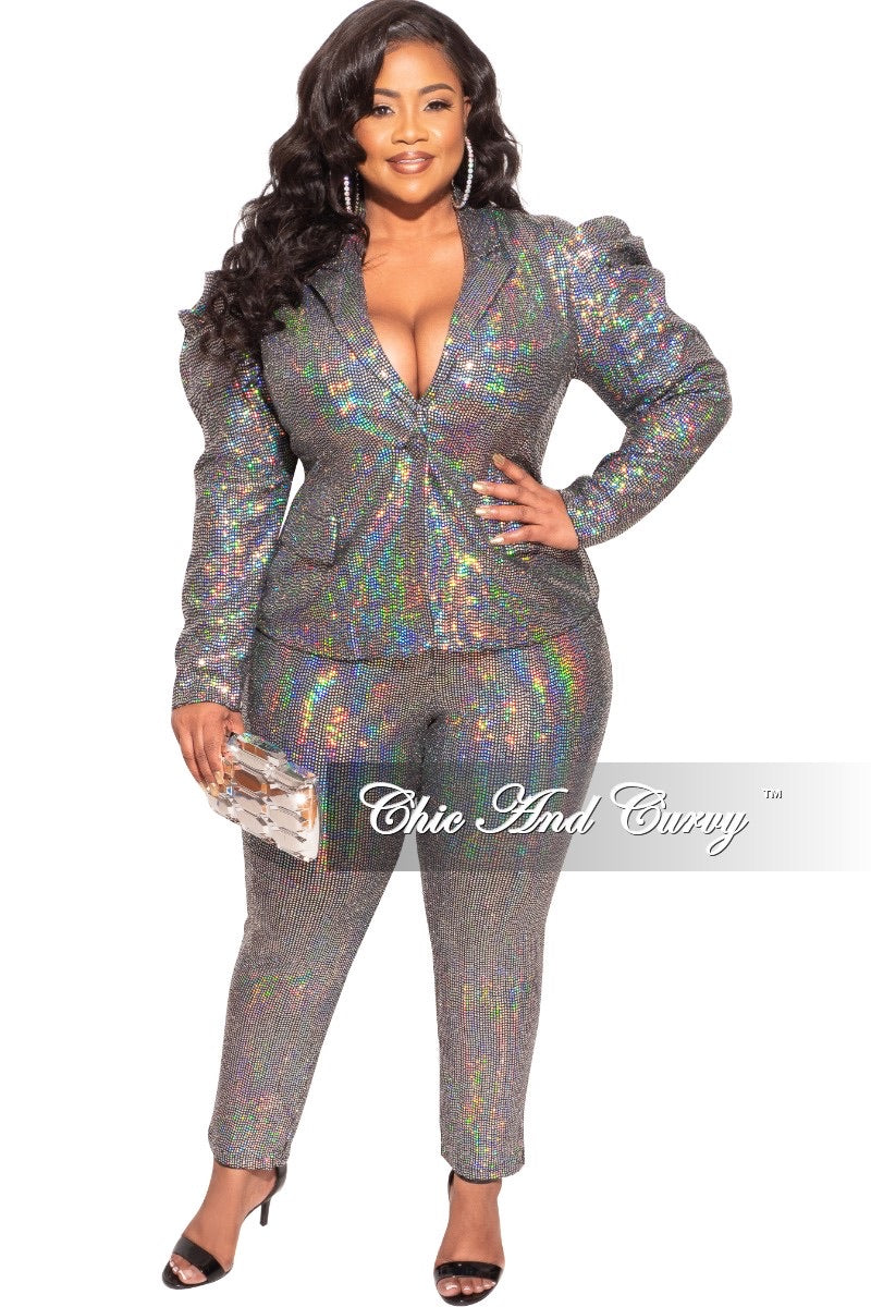 Final Sale Plus Size 2-Piece Pants Suit in Silver Mirror Ball Sequin
