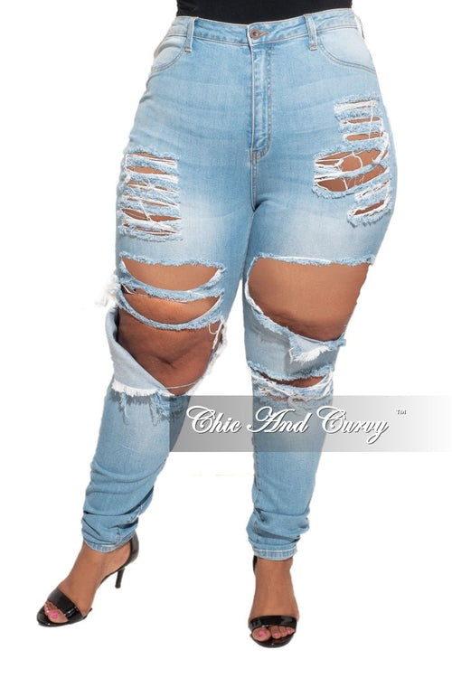 Final Sale Plus Size Cut Out Distressed Jeans in Light Wash