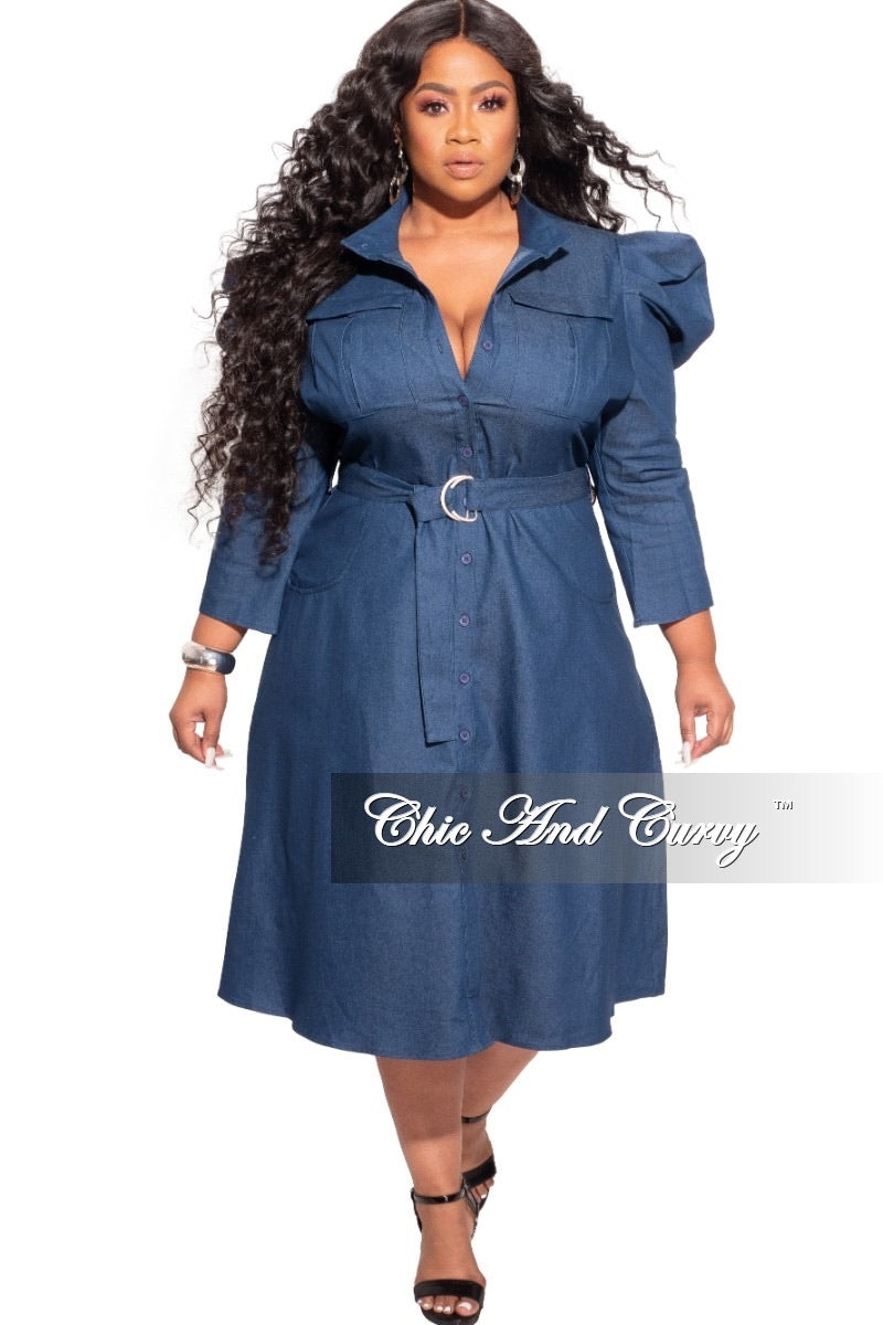 *Final Sale Plus Size Faux Dark Denim Dress with Puff Sleeves