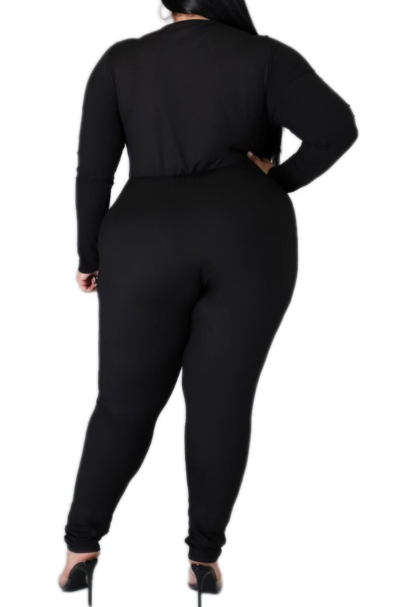 Final Sale Plus Size Harem Twist Front Jumpsuit in Black