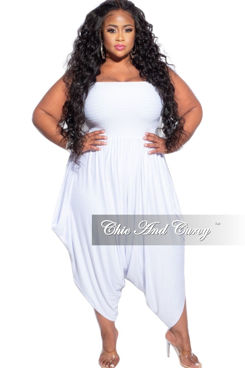 New Plus Size Strapless Smocked Harem Jumpsuit in White