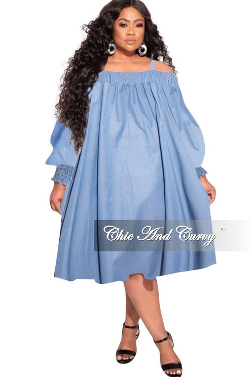 *Final Sale Plus Size Oversized Off The Shoulder Dress in Chambray