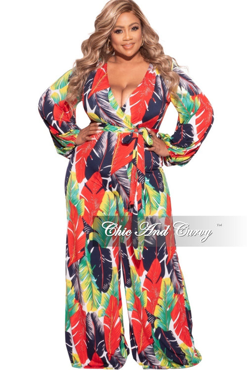 *Final Sale Plus Size Long Sleeve Faux Wrap Jumpsuit with Attached Tie and Back Gold Zipper in Red/Navy/Green Palm Print