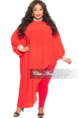 Final Sale Plus Size Chiffon Bling Collar & Cuff Asymmetrical Blouse in Red