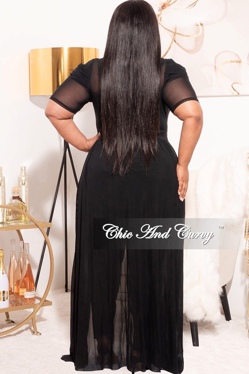 *Final Sale Plus Size Mesh Top with Train in Black