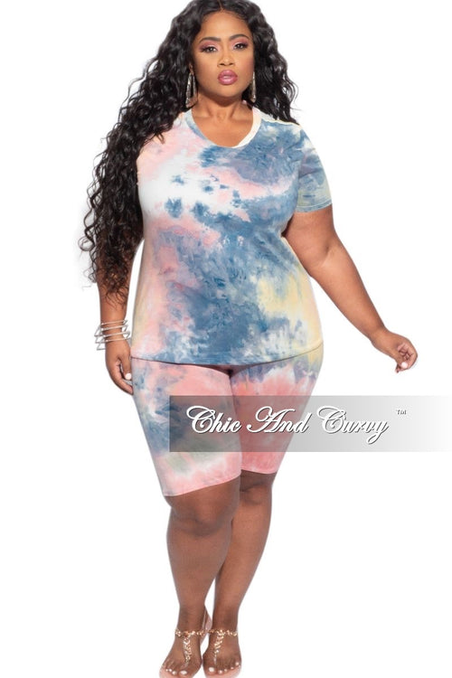 Final Sale Plus Size 2-Piece (V Neck T-Shirt & Bermuda Short) Set in Blue, Pink & Yellow Tie Dye