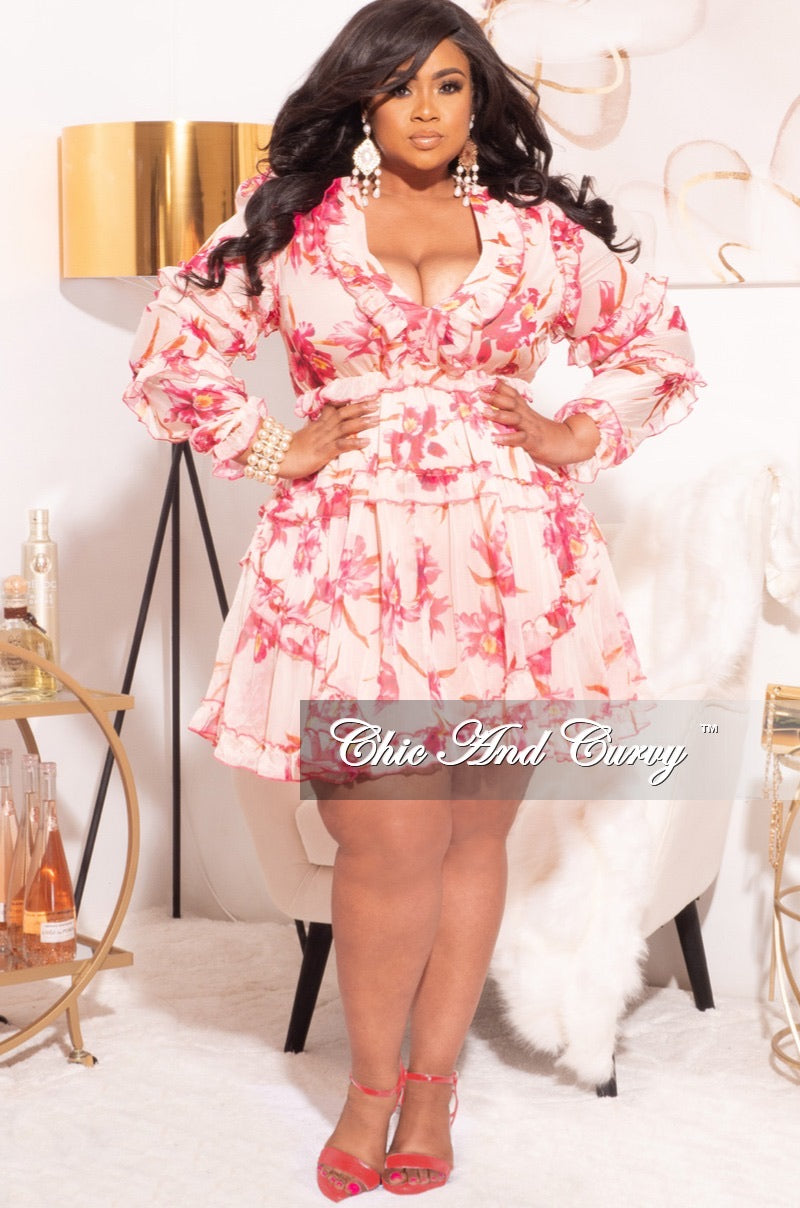 Final Sale Plus Size Babydoll Dress in Peach with Fuchsia Floral Print