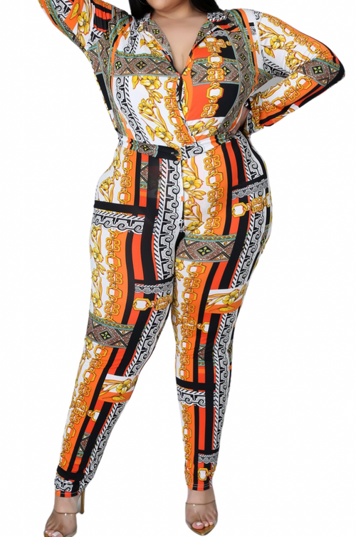 Final Sale Plus Size 2pc (Bodysuit & Pants) Set in Faux Orange Gold Print