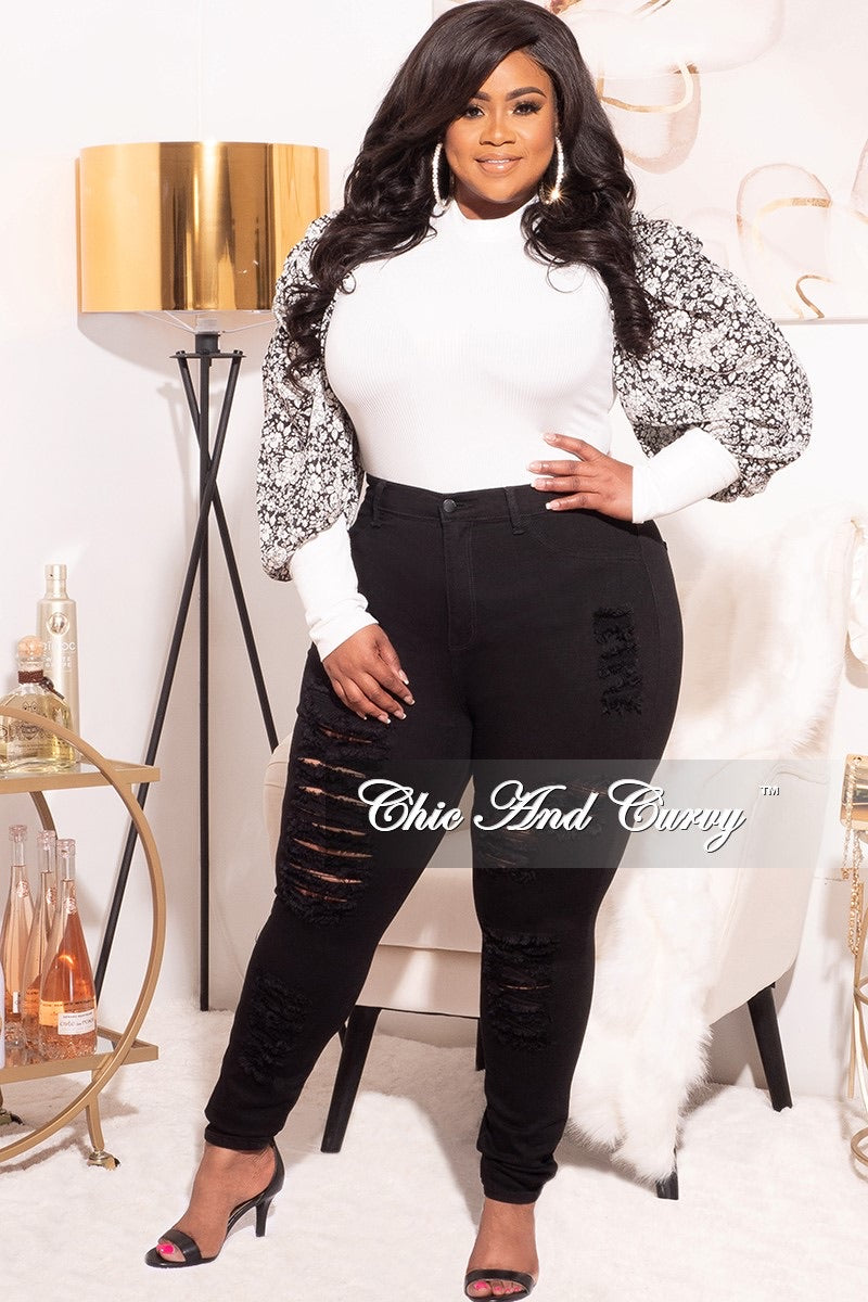 Final Sale Plus Size Long Sleeve Ribbed Top with Puffy Sleeves in Black & Off White Floral Print