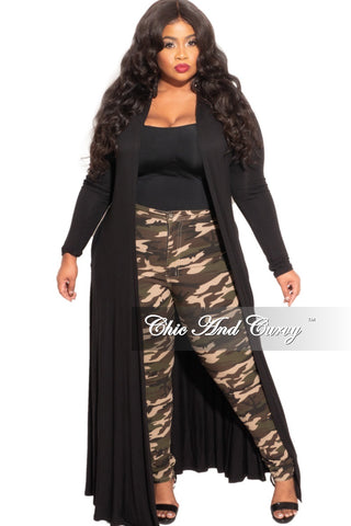 Final Sale Plus Size Faux Sequin 2-Piece Jacket & High Waist Pants Set in Gold
