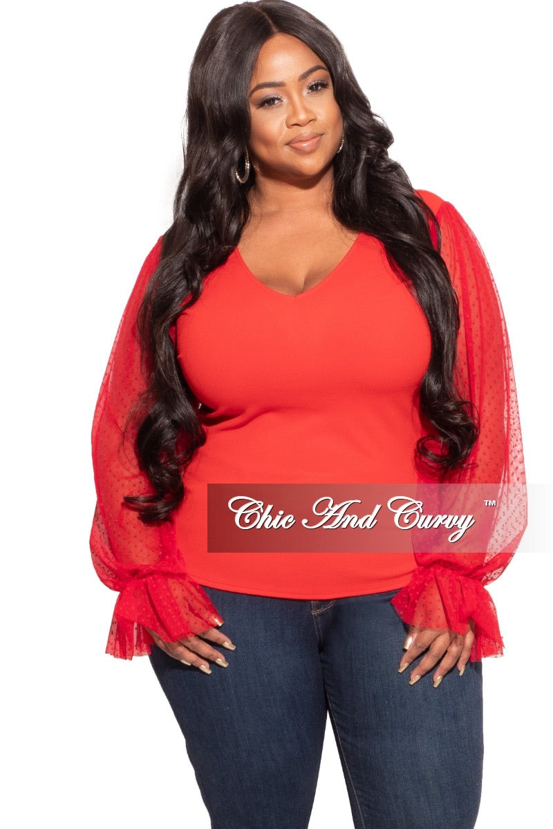 Final Sale Plus Size Tunic with Mesh Sleeves in Red