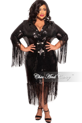 Final Sale Plus Size Sequin Mini Dress / Blazer in Black