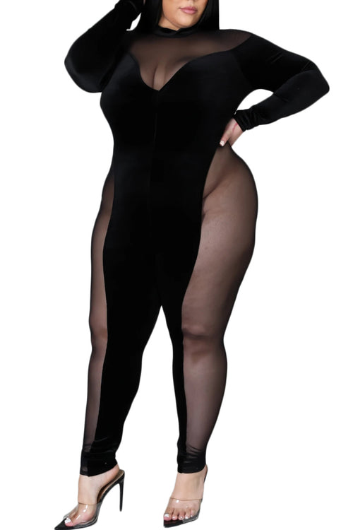 Final Sale Plus Size Long Sleeve Velour & Mesh Jumpsuit in Black