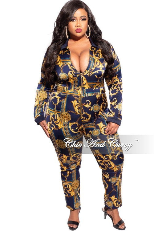 New Plus Size Faux Satin Jumpsuit in Navy & Gold Print