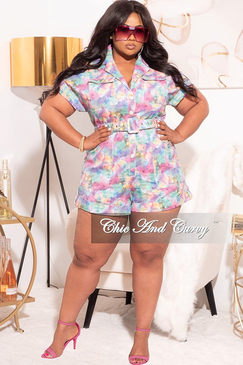 Final Sale Plus Size Romper in Lavender Multi-Color Print