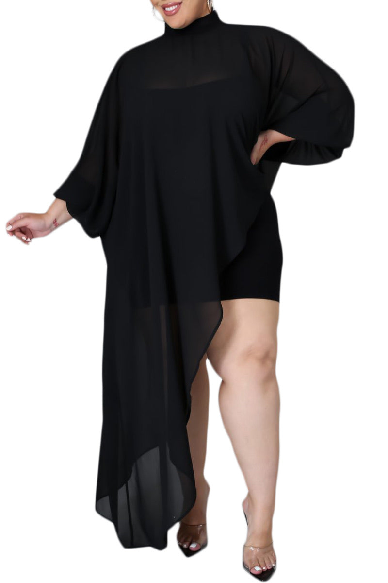 *Final Sale Plus Size Chiffon Asymmetrical Blouse in Black