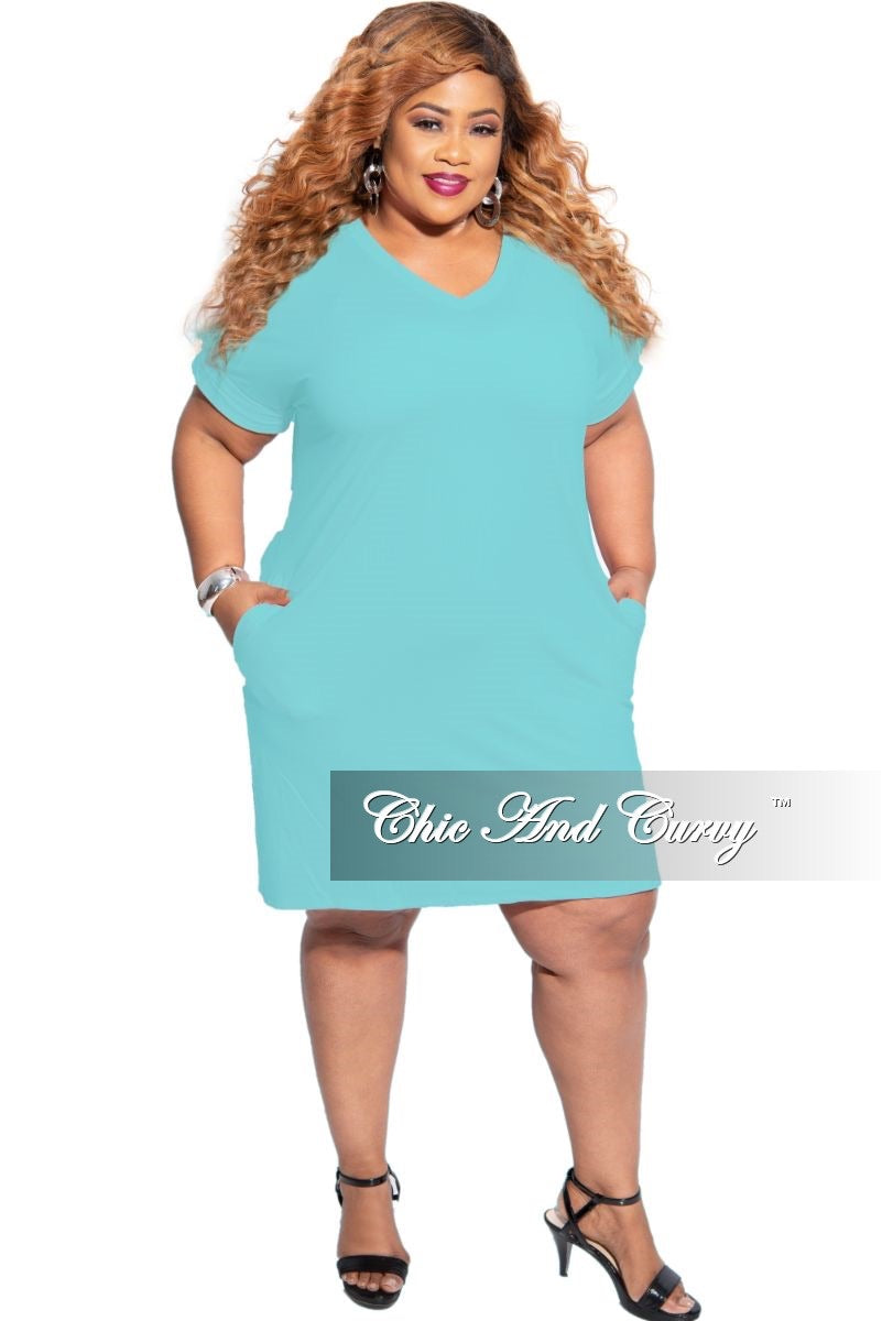 New Plus Size Rolled Sleeve V-Neck Dress in Mint