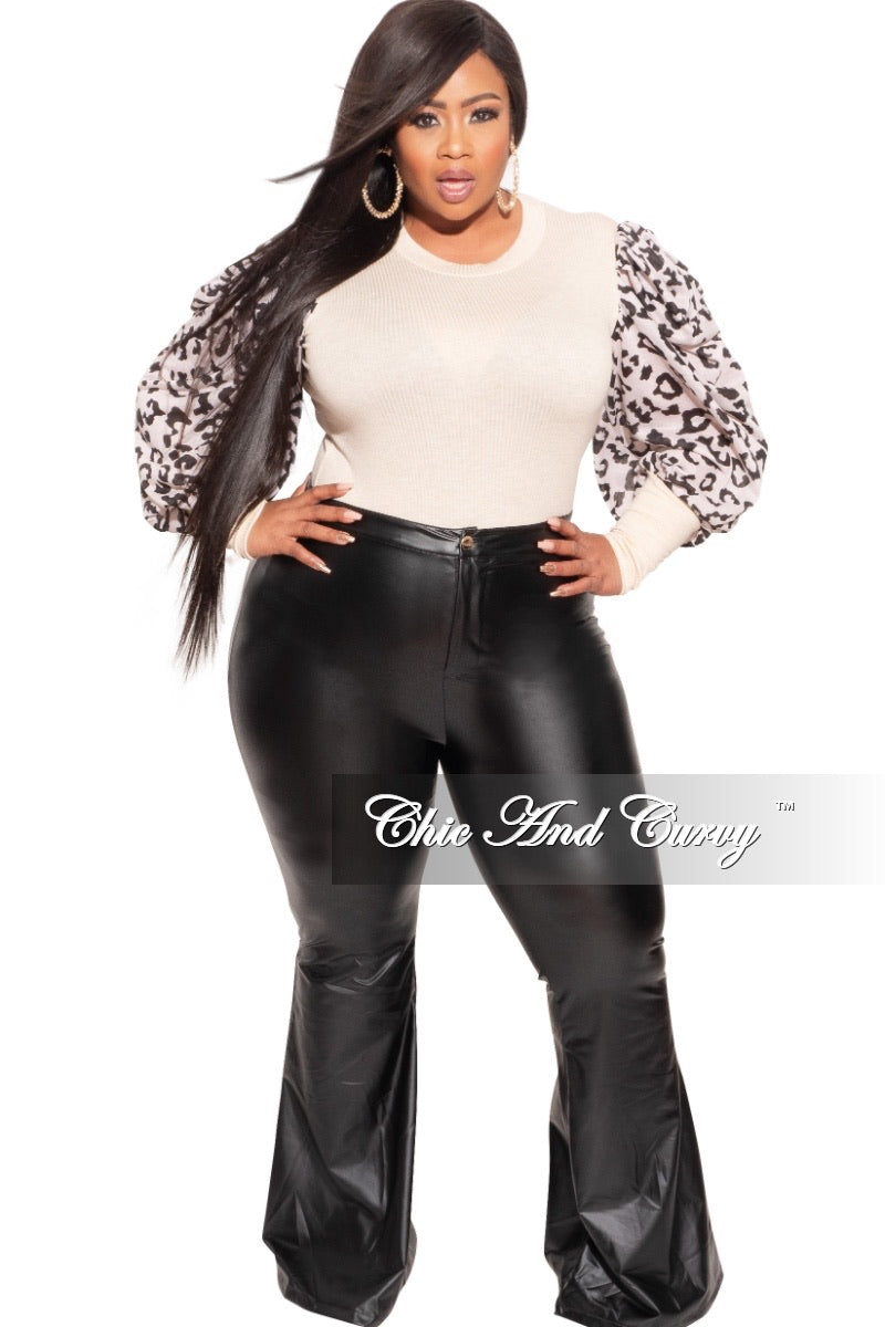 Final Sale Plus Size Long Sleeve Ribbed Top with Puffy Sleeves in Animal Print