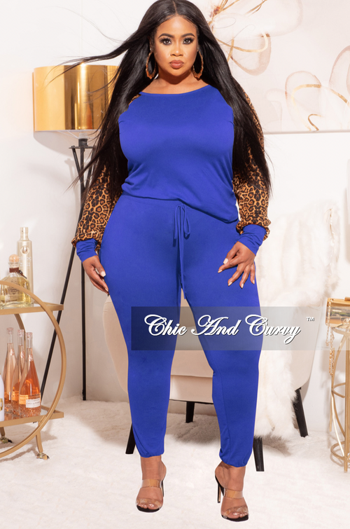 Final Sale Plus Size 2-pc Pants Set in Royal Blue & Animal Print