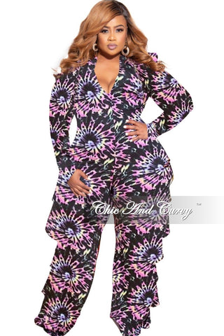 New Plus Size Exclusive Collared Faux Wrap Peplum Side Tie Top and Pants Set in Purple