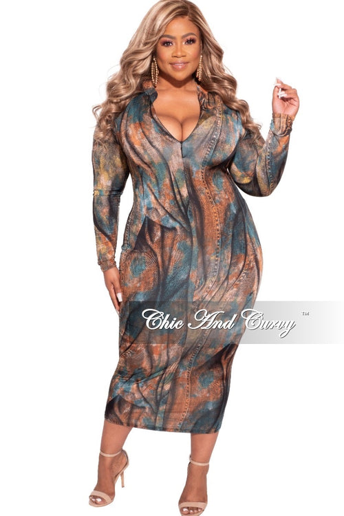 Final Sale Plus Size Reversible BodyCon in Dark Mosley Print