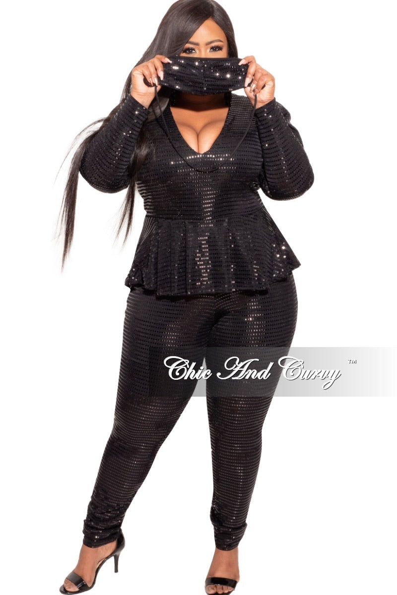 Final Sale Plus Size Deep V Faux Sequin Jumpsuit in Black