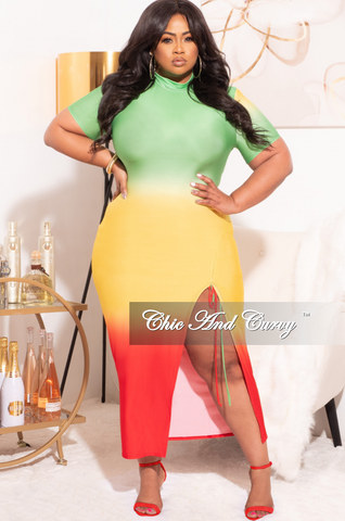 *Final Sale Plus Size BodyCon Ribbed Knit Dress in Lime Green